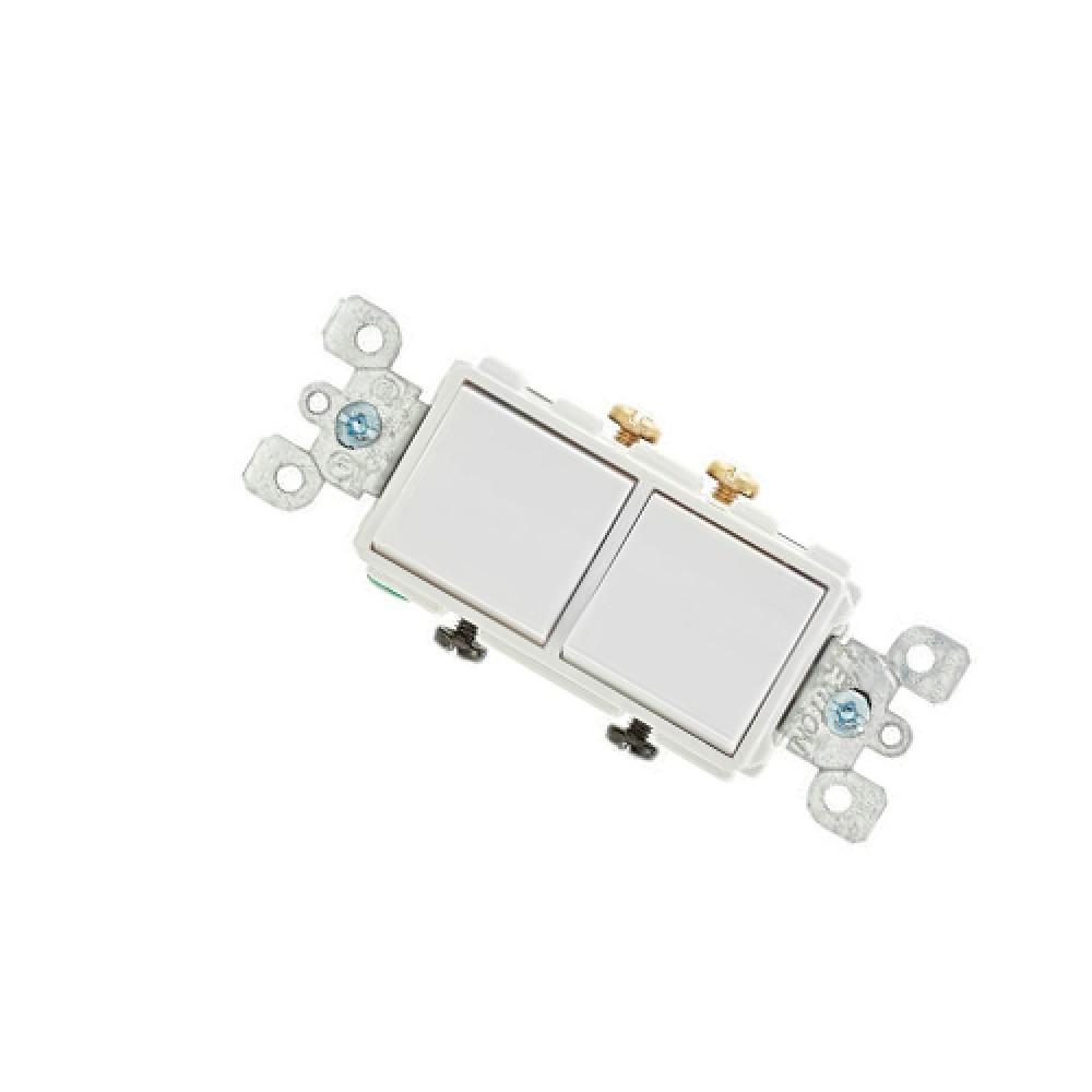 120/277V Single Pole Decora Combination, Double Rocker Light Switch - White*10