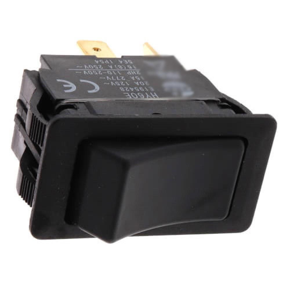 On-Off SPST Black Rocker Switch with Spade Terminal (125/227V)