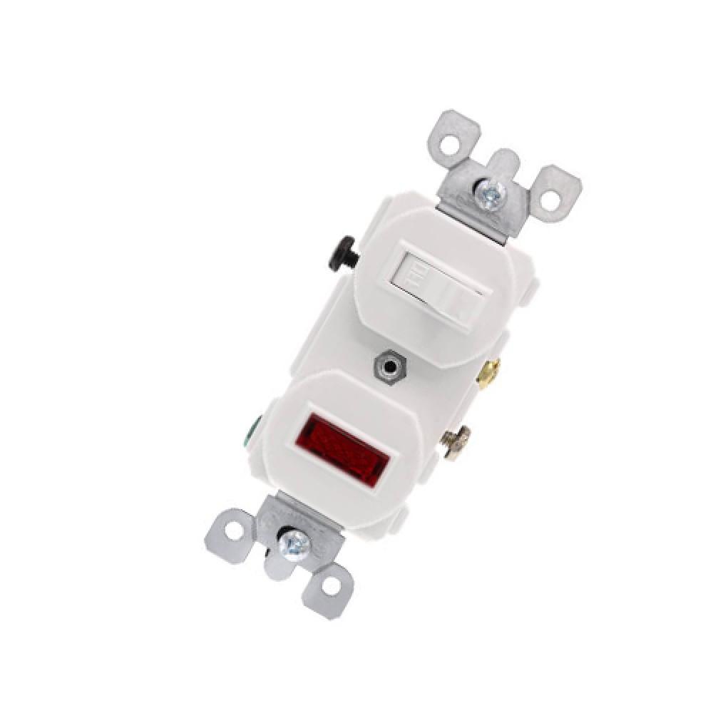 Duplex Single Pole Indicator Combination Switch, 15A - White (120/277V)