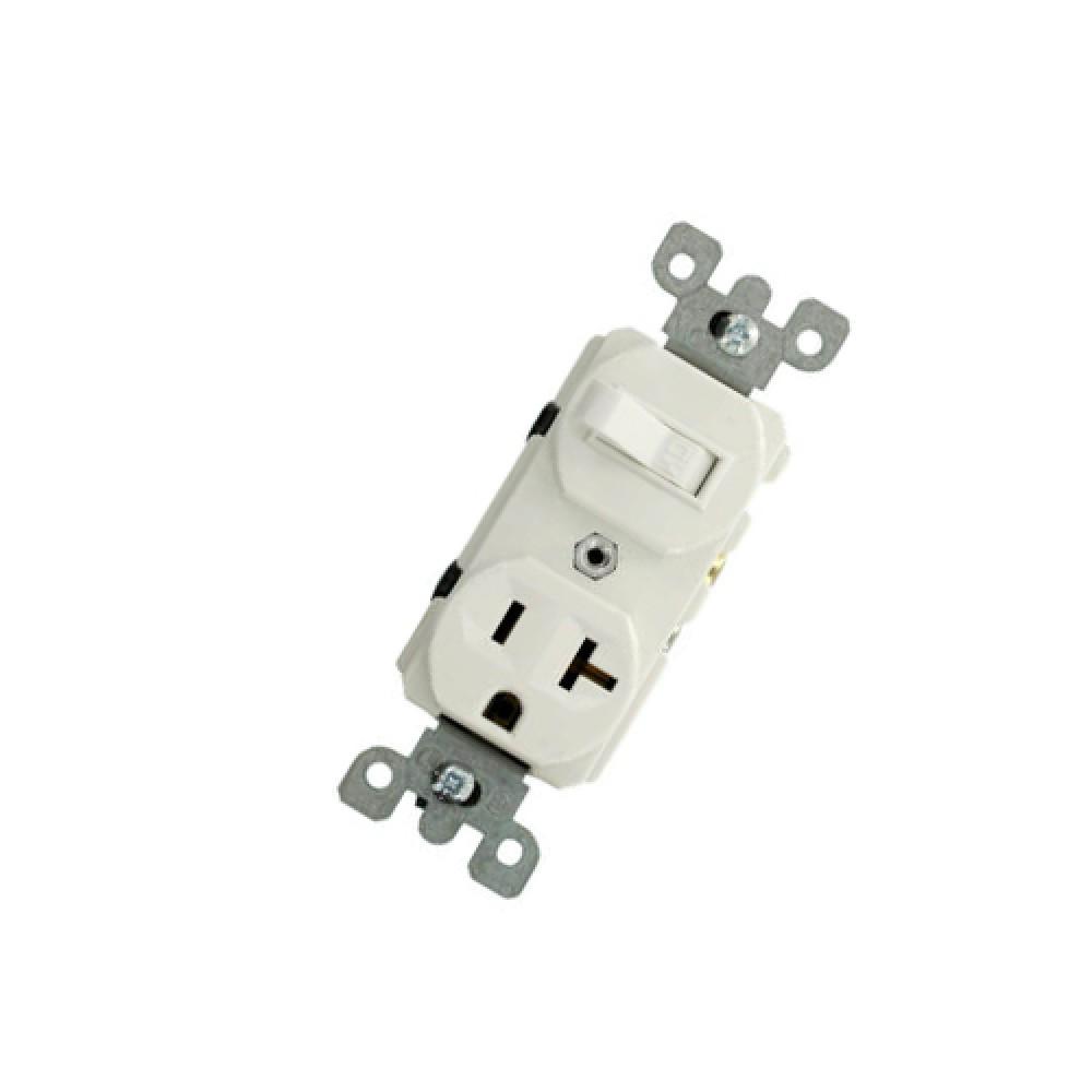 Single Pole Duplex AC Combination Switch, Grounded, 20 Amps - White (120V)